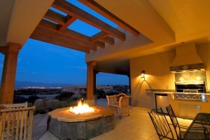 Patio Furniture around outdoor fireplace