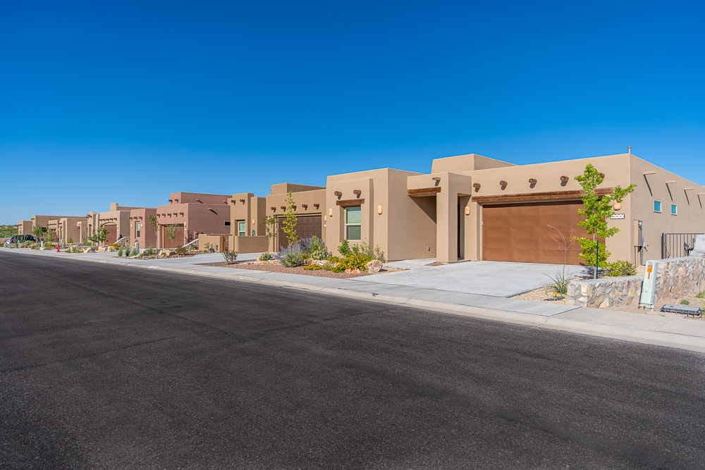 Street view of courtyard homes in The Willows