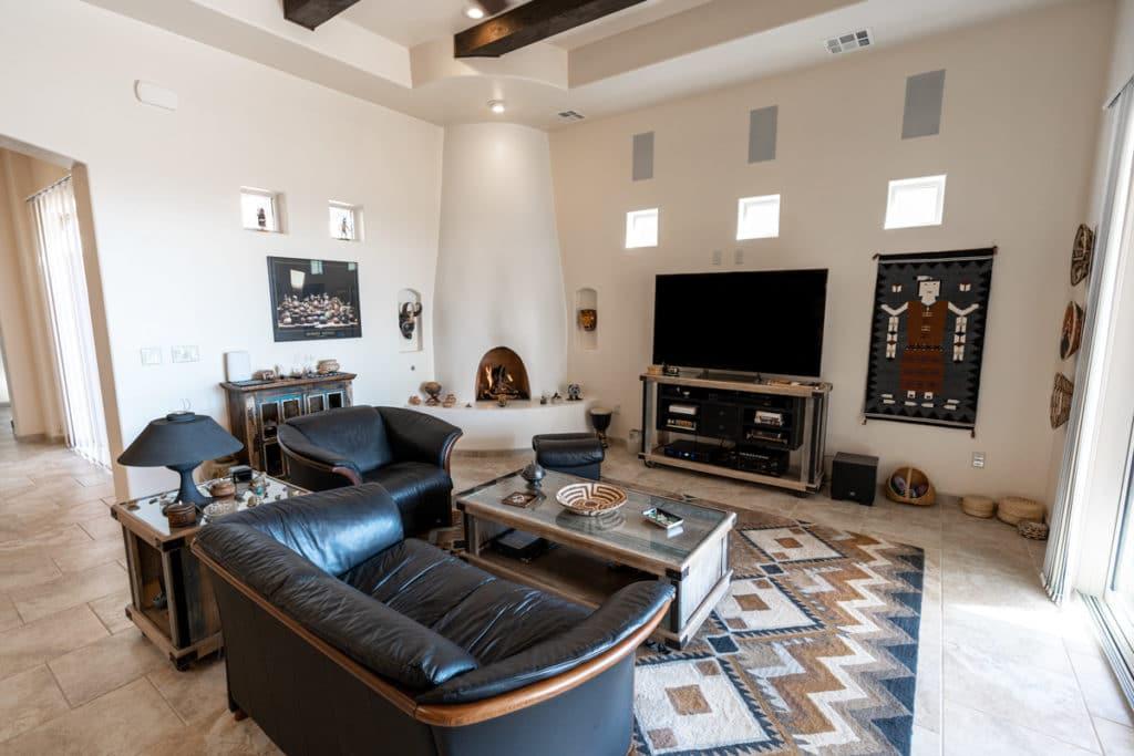kiva fireplace custom home